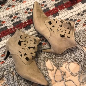 Ashton Taupe Tan Suede Cut Out Heeled Bootie
